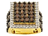 Brown And White Cubic Zirconia 18k Yellow Gold Over Silver Ring 7.45ctw