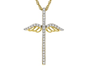 Cubic Zirconia 18k Yellow Gold Over Silver Pendant .46ctw