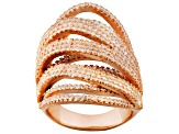 Cubic Zirconia 18k Rose Gold Over Silver Ring 4.20ctw