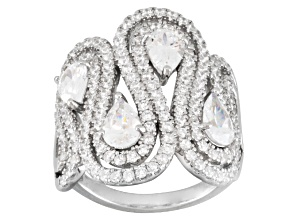 Cubic zirconia sterling silver ring 4.63ctw