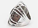Mocha And White Cubic Zirconia Sterling Silver Ring 4.48ctw