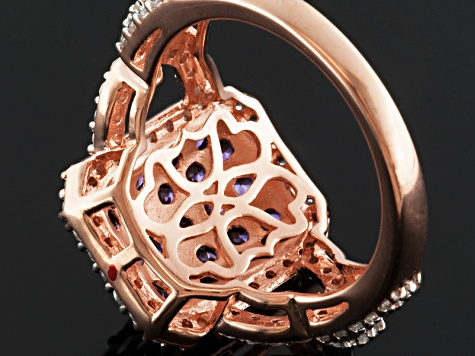 Purple And White Cubic Zirconia 18k Rose Gold Over Silver Ring 3.15ctw.