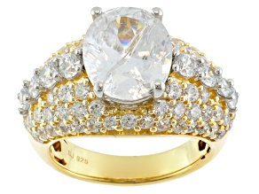 Cubic Zirconia 18k Yellow Gold Over Silver Ring 13.22ctw