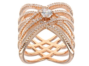 Cubic Zirconia Ring 18k Rose Gold Over Silver 1.94ctw