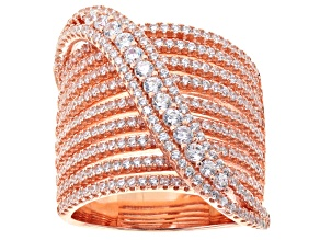 Cubic Zirconia 18k Rose Gold Over Silver Ring 3.42ctw