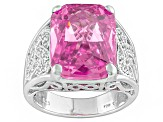 Pink And White Cubic Zirconia Silver Ring 17.83ctw