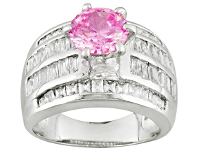 Pink And White Cubic Zirconia Rhodium Over Sterling Silver Ring 7.46ctw