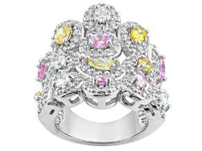 Pink, Yellow And White Cubic Zirconia Silver Ring 3.76ctw