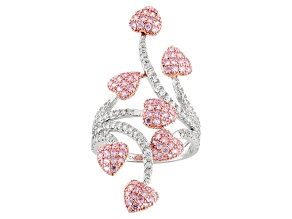 Pink And White Cubic Zirconia Rhodium Over Sterling Silver Heart Ring 2.28ctw (1.56ctw DEW)