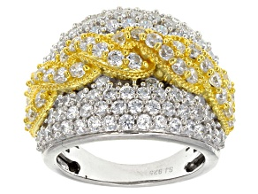 Cubic Zirconia 18k Yellow Gold And Rhodium Plated Silver Ring 6.79ctw