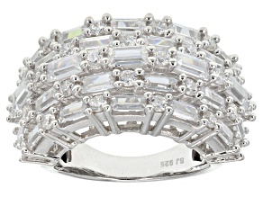 Cubic Zirconia Sterling Silver Ring 3.84ctw