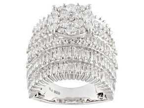 Cubic Zirconia Rhodium Over Sterling Silver Ring 8.13ctw