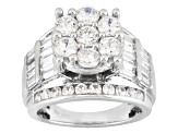 Cubic Zirconia Rhodium Over Silver Ring 7.14ctw