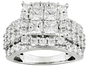 Cubic Zirconia Rhodium Over Sterling Silver Ring 3.40ctw
