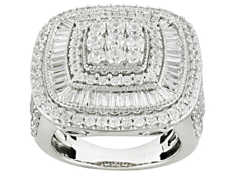 Cubic Zirconia Rhodium Over Sterling Silver Ring 5.80ctw