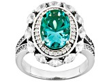 Lab Created Green Spinel White Cubic Zirconia Silver Ring 5.25ctw