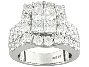Cubic Zirconia Sterling Silver Ring 5.96ctw