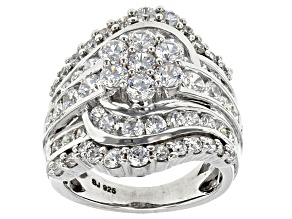 Cubic Zirconia Rhodium Over Sterling Silver Ring 6.26ctw