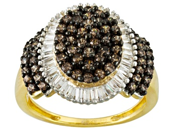 Picture of Brown And White Cubic Zirconia 18k Yellow Gold Over Silver Ring 2.81ctw