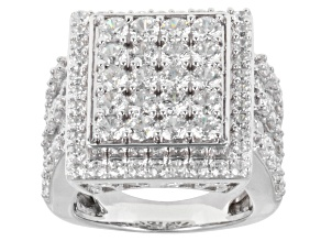 Cubic Zirconia Rhodium Over Sterling Silver Ring 9.46ctw