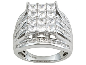 Cubic Zirconia Rhodium Over Sterling Silver Ring 4.21ctw