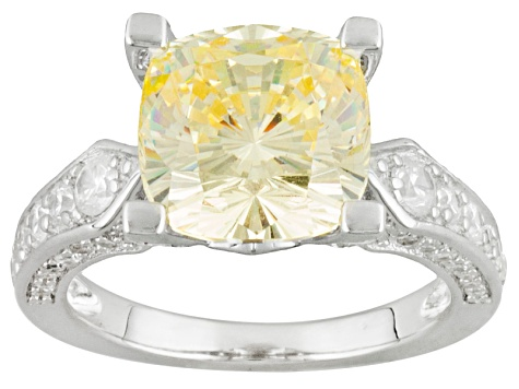 Yellow And White Cubic Zirconia Rhodium Over Sterling Silver Ring 9.29ctw