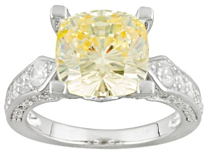 Yellow And White Cubic Zirconia Silver Ring 9.29ctw