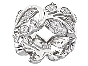 Cubic Zirconia Rhodium Over Sterling Silver Ring 1.20ctw