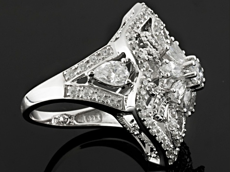 Cubic Zirconia Silver Ring 5.61ctw