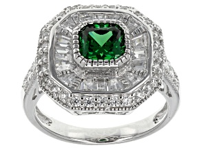 Green And White Cubic Zirconia Silver Ring 3.41ctw