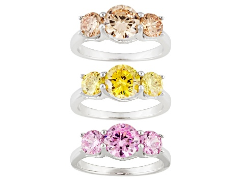 Brown, Yellow And Pink Cubic Zirconia Silver 3-Stone Ring Set Of 3 11.25ctw