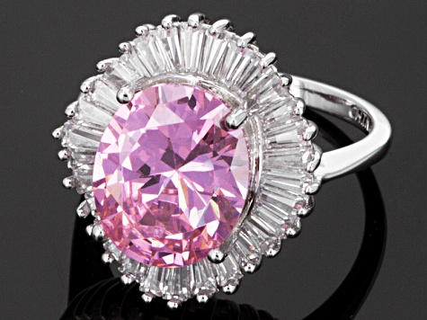 Pink And White Cubic Zirconia Silver Ring 10.30ctw
