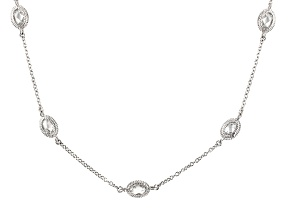 Cubic Zirconia Silver Necklace 16.06ctw