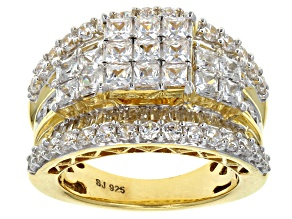 Cubic Zirconia 18k Yellow Gold Over Silver Ring 6.45ctw