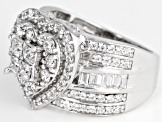 White Cubic Zirconia Rhodium Over Sterling Silver Heart Ring 3.30ctw
