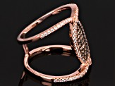 Brown And White Cubic Zirconia 18k Rose Gold Over Silver Ring 1.09ctw