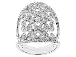 Cubic Zirconia Silver Ring 2.08ctw