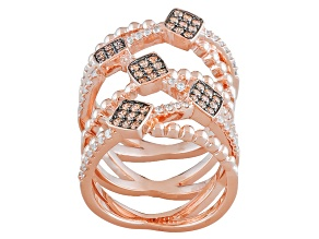 Brown And White Cubic Zirconia 18k Rose Gold Over Silver Ring 1.08ctw