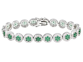 Green And White Cubic Zirconia Rhodium Over Sterling Silver Tennis Bracelet 11.21ctw
