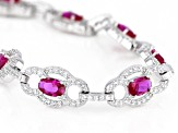 Red And White Cubic Zirconia Rhodium Over Sterling Silver Tennis Bracelet 8.82ctw