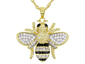 Black And White Cubic Zirconia 18K Yellow Gold Over Silver Yellow Bee Pendant With Chain 1.56ctw