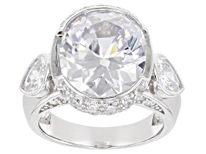 White Cubic Zirconia Rhodium Over Sterling Silver Ring 15.87ctw
