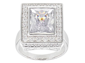 White Cubic Zirconia Rhodium Over Sterling Silver Ring 11.02ctw