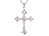 White Cubic Zirconia Rhodium Over Sterling Silver Cross Pendant With Chain 4.18ctw