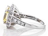 Yellow and White Cubic Zirconia Asscher Cut Rhodium Over Sterling Silver Ring 10.03ctw