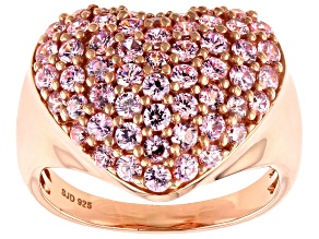 Pink Cubic Zirconia 18k Rose Gold Over Sterling Silver Heart Ring 3.13ctw