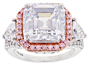 Pink and White Cubiz Zirconia Asscher Cut Rhodium Over Sterling Silver Ring 18.45ctw