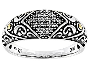 White Cubic Zirconia Rhodium Over Sterling Silver Ring 0.24ctw