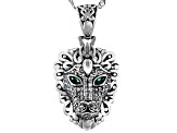 Green And White Cubic Zirconia Rhodium Over Sterling Silver Lion Pendant With Chain 0.90ctw