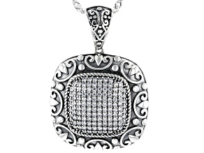 White Cubic Zirconia Rhodium Over Sterling Silver Pendant With Chain 1.13ctw